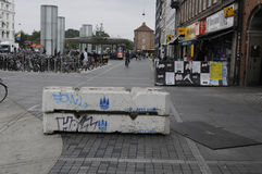 在NORREPORT火车站的水泥封锁 图库摄影