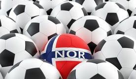 在Norways国民颜色的足球 免版税库存照片