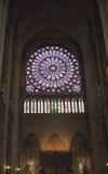在Notre Dame大教堂的北部圆花窗2012年3月14日在巴黎,法国 免版税库存照片