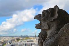 在Notre Dame屋顶的面貌古怪的人  库存照片
