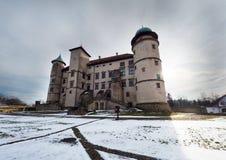 在Nowy WiÅ› nicz的107/5000新生城堡在冬天风景 库存图片