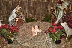 在Nun's谷的圣诞节小儿床在丰沙尔上的山在马德拉岛的海岛上在大西洋 免版税库存照片