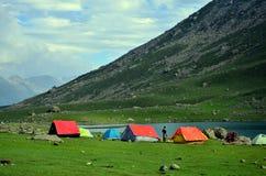 在Nundkol湖的野营的帐篷在Sonamarg,克什米尔,印度 图库摄影
