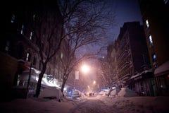 在NYC的冬天飞雪 免版税图库摄影