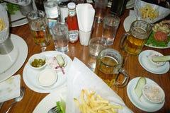 在NYC的餐馆桌 库存照片