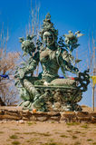 在O Sel陵, Alpujarra,西班牙的佛教雕象 免版税库存图片