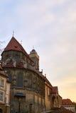 在obere Pfarrkirche的看法在琥珀,巴伐利亚,德国,日落的 所谓的教会Kirche Unsere Liebe已婚的女性或 库存照片