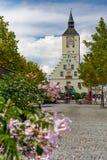 在Oberer platz的Altes Rathaus在德根多尔夫,巴伐利亚,德国 免版税库存照片