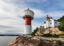 在Odderoya的灯塔在克里斯蒂安桑,挪威 免版税库存图片