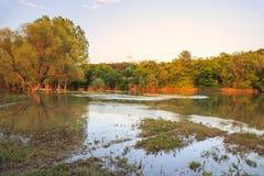 在Ogosta河,保加利亚的日落 库存图片