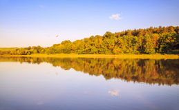 在Ogosta河,保加利亚的日落 免版税图库摄影