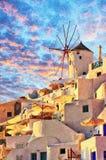 在Oia数字式绘画的圣托里尼风车 图库摄影