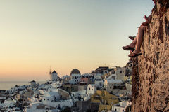 在Oia -圣托里尼的日落 库存图片