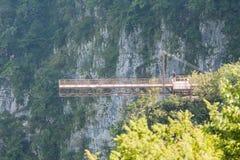 在Okatse峡谷的吊桥,乔治亚 免版税图库摄影