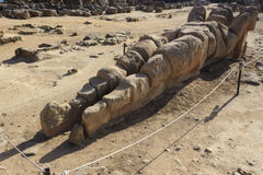 在Olympeion领域的被破坏的地图集在神殿之谷在阿哥里根托-西西里岛,意大利 免版税库存图片