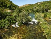 在Omis,克罗地亚附近的河 库存照片
