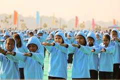 在opning的仪式的瑜伽表现在第29个国际风筝节日2018年-印度 免版税库存图片