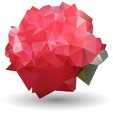 在origami样式的抽象红色玫瑰在白色背景 免版税库存图片