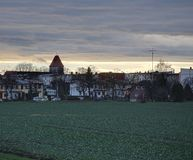 在Ottersleben的晚上Cloudscape 免版税库存图片