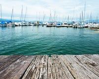 在Ouchy口岸,洛桑,瑞士的游艇 免版税库存照片