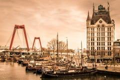 在Oude避风港,鹿特丹,荷兰的一个看法 免版税图库摄影