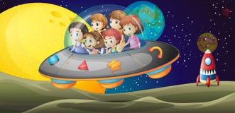 在outerspace的孩子 免版税图库摄影