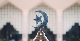 在Outra清真寺前面insude的回教标志  免版税库存图片