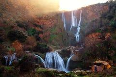 在Ouzoud瀑布附近的巴巴里人村庄在摩洛哥 库存图片