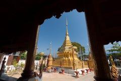 在Pa的佛教寺庙唱了南奔,泰国 库存图片