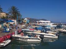 在Pafis Latsi的海港在塞浦路斯 图库摄影