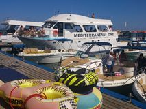 在Pafis Latsi的海港在塞浦路斯 库存图片