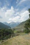 在Pahalgam谷,克什米尔的山 免版税库存照片