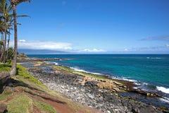 在Paia,毛伊,夏威夷附近的海岸线 库存照片