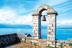 在Palamidi城堡的钟楼在纳夫普利翁 图库摄影