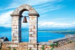 在Palamidi城堡的钟楼在纳夫普利翁 免版税库存图片