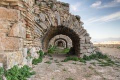 在Palamidi的被成拱形的门道入口在Nafplion希腊防御 库存照片