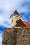 在Palanok城堡,乌克兰的老钟楼, 图库摄影
