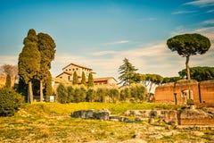 在Palatine小山的罗马帝国废墟 免版税库存照片