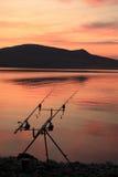 在Palava小山下的钓鱼竿 库存图片