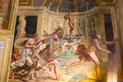 在Palazzo del Te围住壁画在曼托瓦 图库摄影