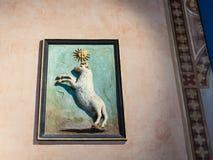 在Palazzo della Ragione的中世纪墙壁浅浮雕 免版税库存图片