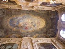 在Palazzo Reale或王宫的天花板在都灵意大利 免版税图库摄影