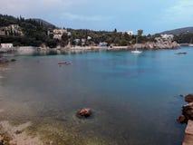在Paleokastritsa海湾的小船 库存图片