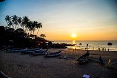 在Palolem海滩,果阿的日落 库存照片