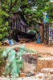 在Palolem海滩,果阿的渔船 库存图片