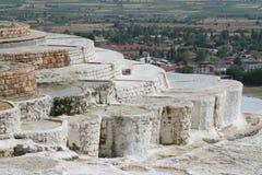 在Pamukkale的露台的池 免版税库存图片