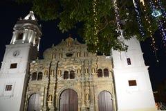 在Panamà ¡的巴拿马奥尔德敦casco Viejo在晚上 库存图片