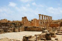 在paphos附近的考古学区塞浦路斯 免版税库存照片