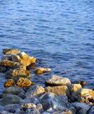 在paphos petra岩石romiou tou附近的美之女神出生地塞浦路斯挥动 库存图片
