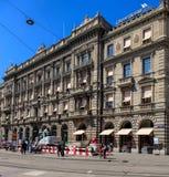 在Paradeplatz广场的道路工程在苏黎世 库存图片